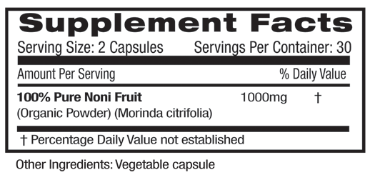 Noni Fruit Supplement Facts