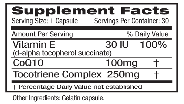 CoQ10 100mg Supp Facts