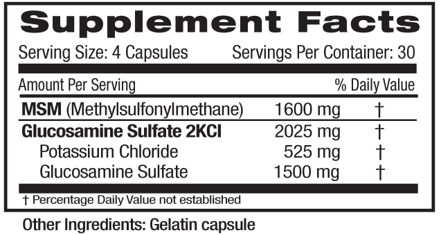 Glucosamine MSM Supp Facts